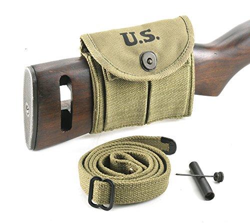 M1 Carbine Sling, Oiler, & Buttstock Pouch Lt. OD Marked JT&L 1943
