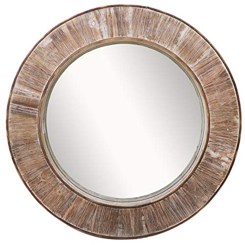 Barnyard Designs Round Decorative Wall Hanging Mirror Rustic Vintage Farmhouse Distressed Wood Mirror Wall Decor 31.5