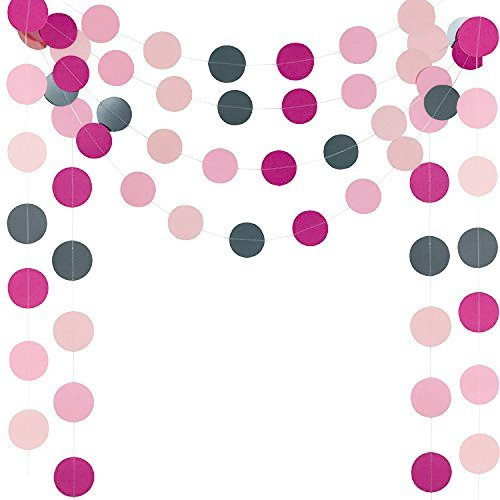 G DECO 4x10ft HANGLING Wall Hanging DOT Circle Paper Garland Wedding, Bridal Showers, Birthday Party,Party Event Decoration (Pink,Gray)