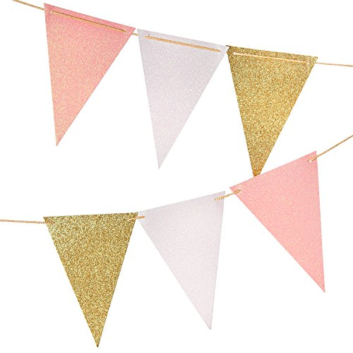 10 Feet Vintage Style Pennant Banner, Gold Glitter Garland, Paper Triangle Flags Bunting for Nursery Wall, Wedding, Baby Shower, Party Decor,15 pcs Flags(Gold Glitter+White Glitter+Baby Pink Glitter) -