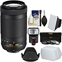 Nikon 70-300mm f/4.5-6.3G DX AF-P ED Zoom-Nikkor Lens with Flash + Soft Box + Diffuser + 3 UV/CPL/ND8 Filters + Hood + Kit