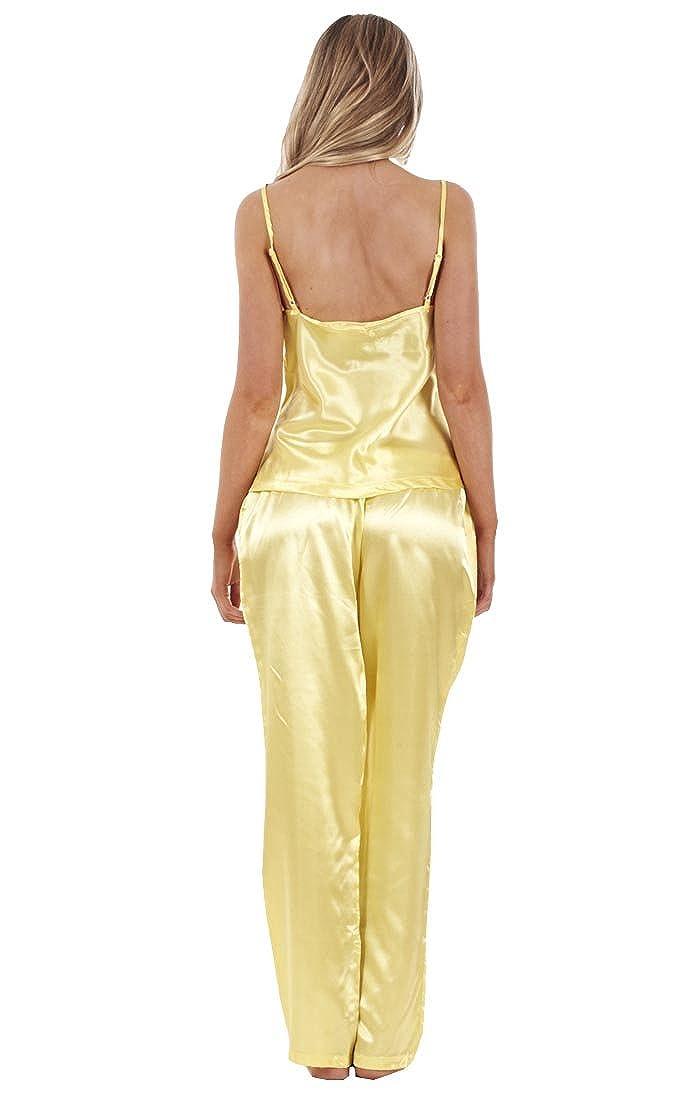 3c06843e9b Ladies 3 Piece Satin Pyjama Set Womens Vest Lace Shorts PJ S Nightwear  Jolinesse larger image