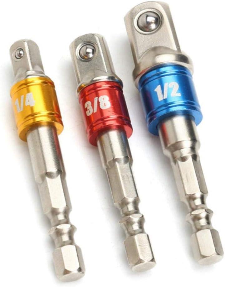 """Douille embout Adaptateur Perceuse Nut Driver Power Extension Bar 3pc Set 1//4/"""" 3//8/"""" 1//2/"""""""