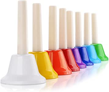 Handbells, 8 Note Hand Bells Diatonic Musical Toy Bells for Kids Toddlers Children Adults Teaching Church Chorus Family Party