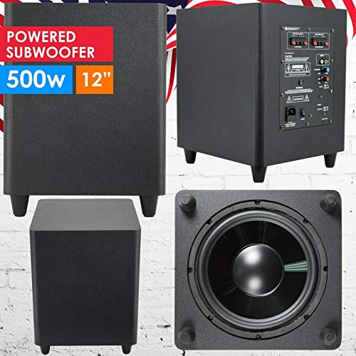 Gravity 12″ Down Fire Active Powered Subwoofer Home Theater Surround Sound 500W