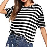 Women Short Sleeve Striped Print Top Casual Blouse O Neck Loose Basic Tee Patchwork Baggy Blouse Black