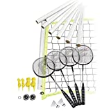 Franklin Sports Badminton Set - Includes 4 Steel Raquets, 1 Net, 2 Shuttlecocks, and 1 Carry Bag - Starter, Family, and Professional Set Options (Renewed)