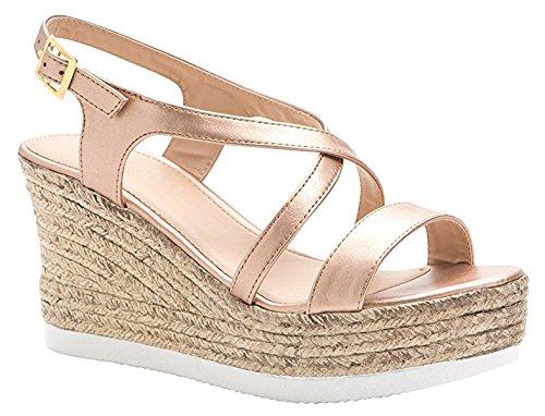 ShoBeautiful Women's Espadrille Platform Wedge Sandal Open Toe Crisscross Strappy Slingback Dress Summer Shoes Rose Gold (Criss Cross Slingback Sandals)