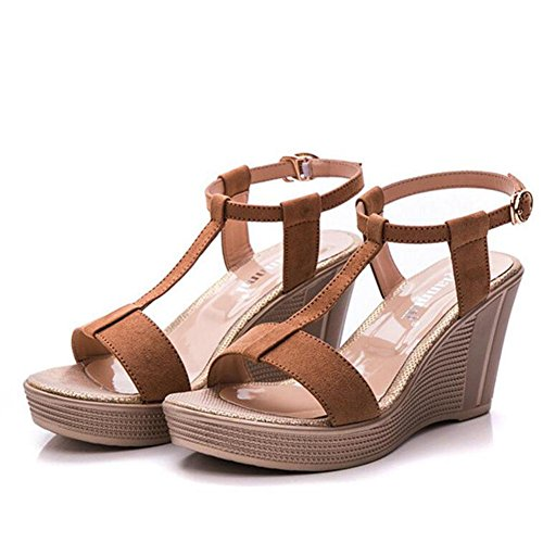 2017 brown Epais Mouth Sandals Bottom With Summer Chaussures Table Women's Waterproof Fish Cuir Slope APxOtqw