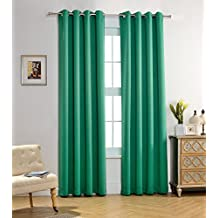 MYSKY HOME Solid Grommet top Thermal Insulated Window Blackout Curtains, 52 x 84 Inch, Green, 1 Panel