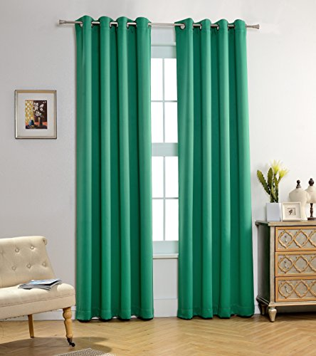 MYSKY HOME Solid Grommet top Thermal Insulated Window Blackout Curtains for Bedroom, 52 x 95 Inch, Green, 1 Panel (Black Green Curtains)