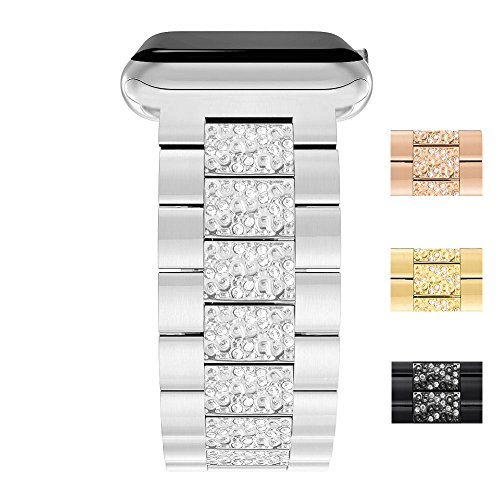 For Apple Watch Rhinestones Bands ([38mm Metal Rhinestones Bands] Silver, Wrist Size 3.5