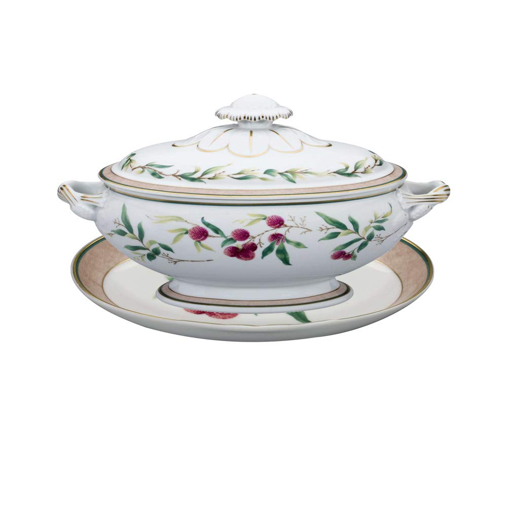 Vista Alegre Lychee Porcelain Tureen with Stand
