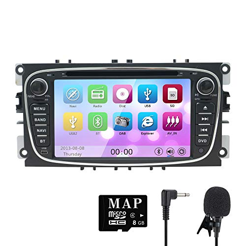 NVGOTEV 7 Inch Double Din Car Stereo for Ford Focus 2008-2011,DVD Player with GPS Navigation Support WiFi Mirror Link RDS Bluetooth 3G Video Audio Radio with Free SD Map Card(Black