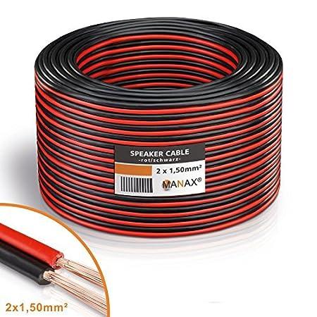 Câble de haut-parleur MANAX® 2 x 2, 50 mm² rouge / noir 10, 0 m