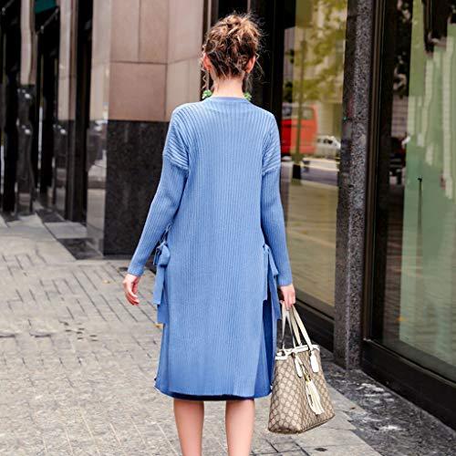 Abito Elegante Regalo Maniche Sera Maternità Cerimonia Casual Primavera Vestiti Abiti Blue Gonna Gravidanza In Set E Di Autunno Allentata Lunghe Morbido Blu Donne Accogliente qzAnU8