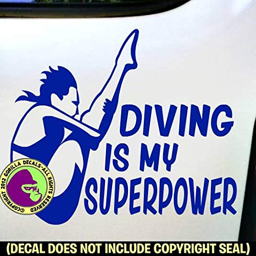 DIVING SUPERPOWER SPRINGBOARD DIVER Female Vinyl Decal Sticker C