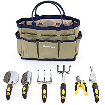 SONGMICS 7 Piece Garden Tool Set Includes Garden Tote and 6 Hand Tools W/ Heavy Duty Cast-aluminum Heads Ergonomic Handles UGGB31L
