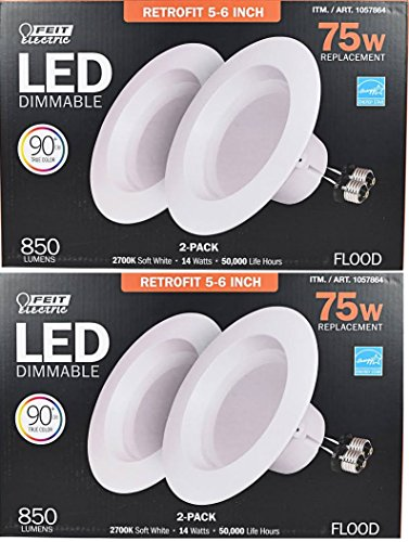 Feit Electric, LED Dimmable 4 Pack Retrofit Kit, Replaces 5-6 inch, Soft white 2700K, 850 Lumens