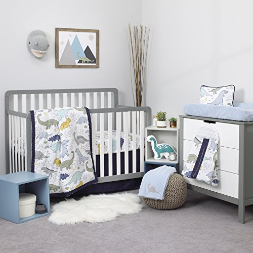 NoJo Dreamer Little Dinosaurs 8 Piece Nursery Crib Bedding Set, Navy Blue/Grey/White ()