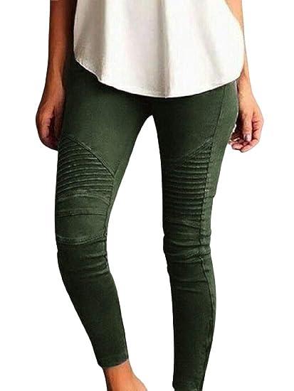 e4dceedc9c511 VITryst-Women Fashion Stretch Leisure Plus Size Capri Jegging Pants Army  Green XXS
