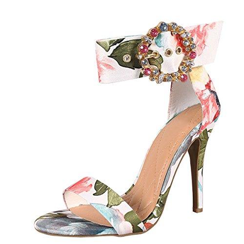 Anne Michelle Donna Open Toe Gioiello Strass Tacco A Spillo Fibbia Sandalo Cinturino Alla Caviglia Floreale Bianco