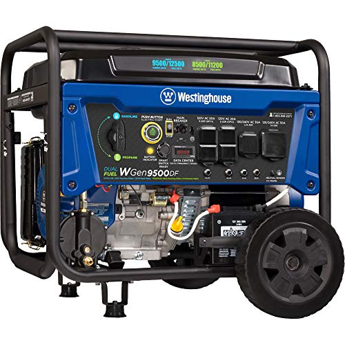 Westinghouse WGen9500DF Dual Fuel Portable Generator-9500 Rated 12500 Peak Watts Gas or Propane Powered-Electric Start-Transfer Switch RV Ready, CARB Compliant