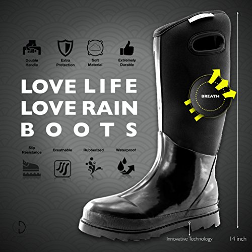 Soft Rubber Warm Mid Classic High Black Snow Calf Rainboot Ultra Women's Winter Neoprene Waterproof Boots ptYqUxU