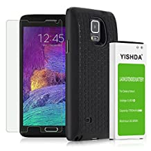 YISHDA Note 4 Extended Battery, 7000mAh New Replacement Li-ion Battery for Samsung Galaxy Note 4 N910, N910U, N910A, N910V, N910P, N910T With Black Battery Case Cover - 18 Month Guarantee