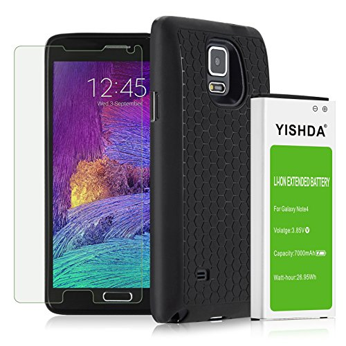 Note 4 Extended Battery, YISHDA 7000mAh Li-ion Battery for ...