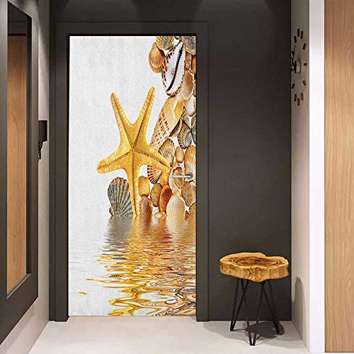 Printable Spa - Door Sticker Seashells Shells and Starfish Reflection Water Golden Color Spa Clear Beach Theme Glass Film for Home Office W23 x H70 Earth Yellow Cream