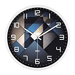 Color Map Whtie Wall Clock, 12 Inch Silent Non Ticking Quality Quartz Battery Operated Easy to Read Home/Office/School Clock, With Stoving Varnish Finished Metal Frame(Fashion Element,White)