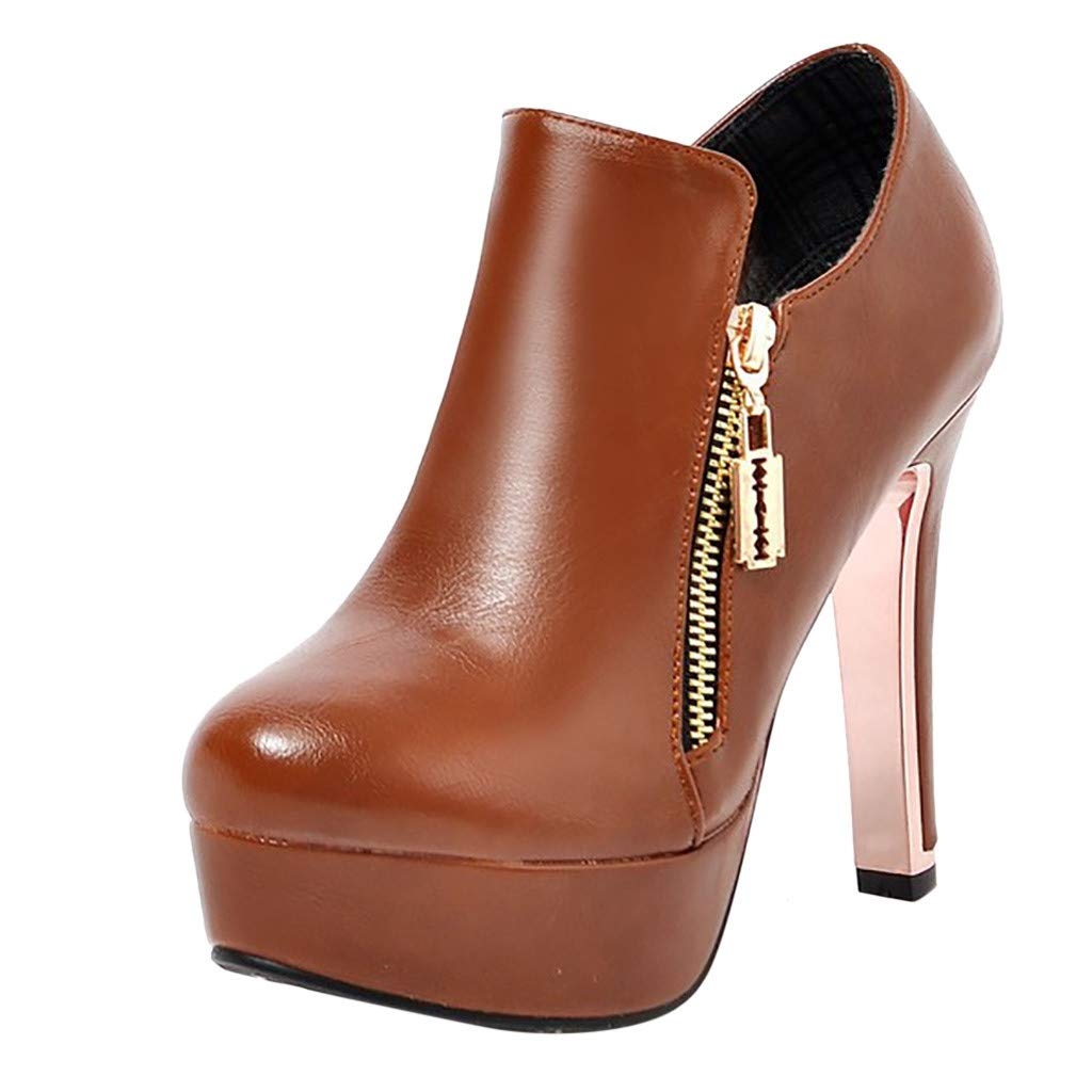 Hunauoo Deals High Heel Ankle Boots Women Elegant Non-Slip Round Toe Thin Heel Pumps Knight Booties Brown by Hunauoo Shoes