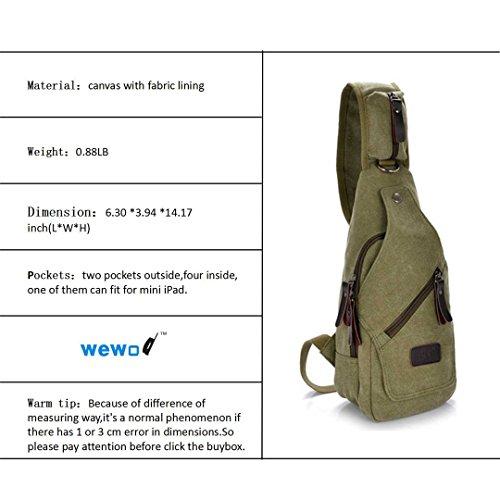 Wewod Bolso de Pecho Hombre Lona/Bolso de Mensajero /Bolsos de Hombro para Hombre Deportivos 16 x 36 x 10 cm (L*H*W) Verde