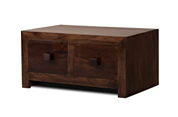 Dark Mango Wood Coffee Table 4 Drawers Solid Wood Furniture