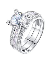 Newshe Round Cz Wedding Ring Sets for Women Engagement 925 Sterling Silver 2ct White AAA Cz Size 5-10