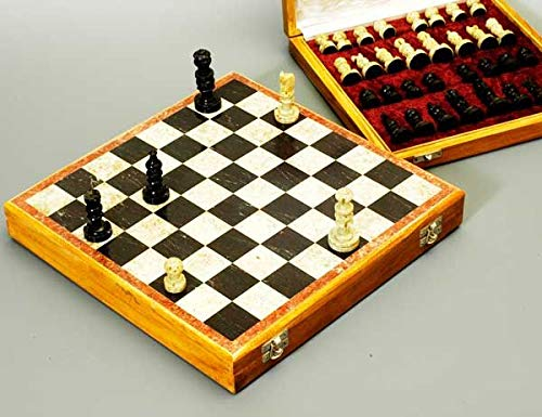 Song of India Beautiful Hand Carved Stone 12 inch Travel Chess Set by Song of India (Image #1)
