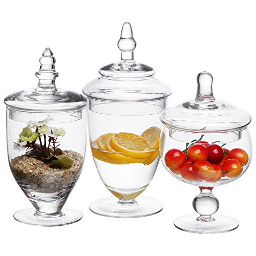 Glass Lidded Apothecary Jar (MyGift Small Clear Glass Apothecary Jars, Wedding Centerpiece, Candy Storage Bottles - 3 Piece)