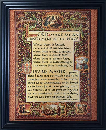 Desiderata Gallery Brand, Wood Framed Simple Prayer for Peace by St. Francis of Assisi Renassaince Design