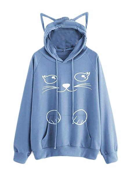 Phelion Sudadera con Capucha de Manga Larga con Capucha y Estampado de Gatos para Mujeres Juniors Regalo para el Amante de los Gatos: Amazon.es: Ropa y ...