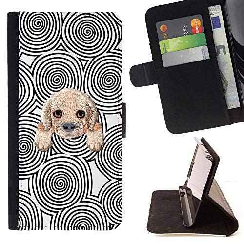[ Cocker Spaniel ] Embroidered Cute Dog Puppy Leather Wallet Case for LG V20 [ Black White Logs Pattern ]