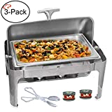 Tiger Chef Stainless Steel Roll Top Chafer, 8 Quart Chafing Dish Set with 2 Chafing Dish Fuel Gels and a Plastic Serving Tong (3)