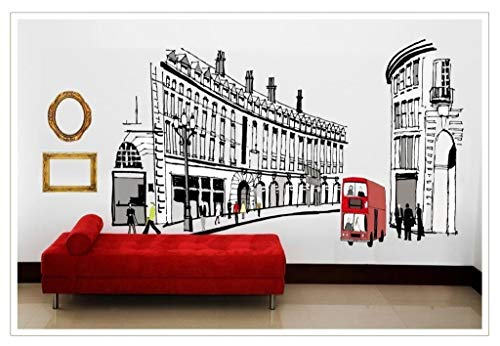 Cheap  OneHouse Roman Buildings Red Bus Wall Mural Decal Removable Wall Decor Sticker