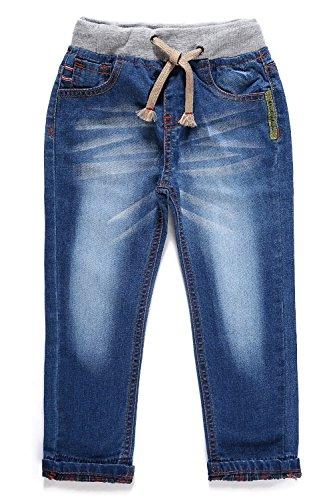 LITTLE-GUEST Little Boys' Jeans Kids Clothes Drawstring Waistband Denim Pants B103 (4 Years, Iron Blue)