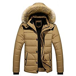 TheRang Men Coat Outdoor Warm Winter Thick Jacket Plus Fur Hooded Outerwear