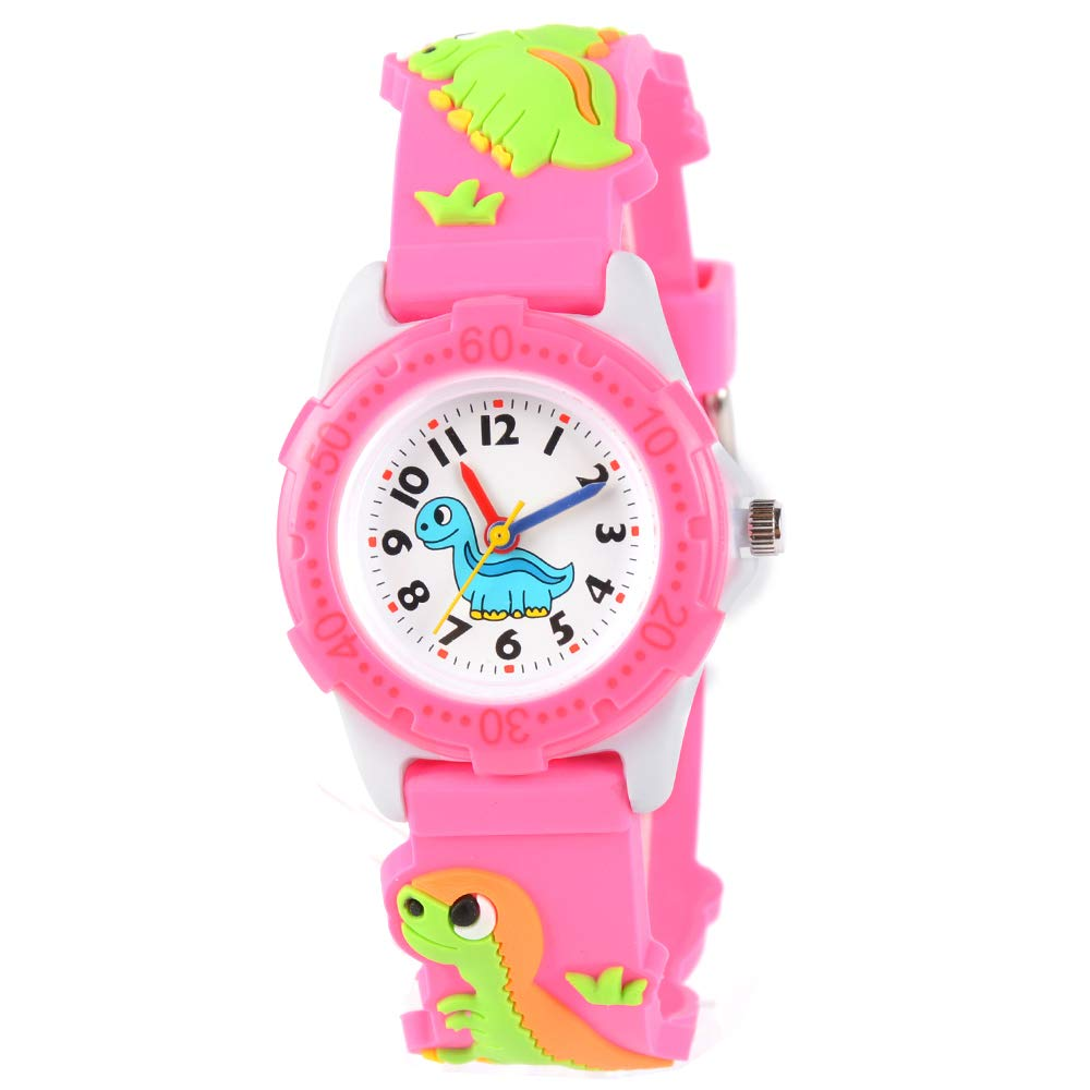 Venhoo Kids Watches Cute 3D Cartoon Waterproof Silicone Children Toddler Wrist Watch Time Teacher Birthday Gift 3-10 Year Boys Girls Little Child-Pink Dinosaur by Venhoo