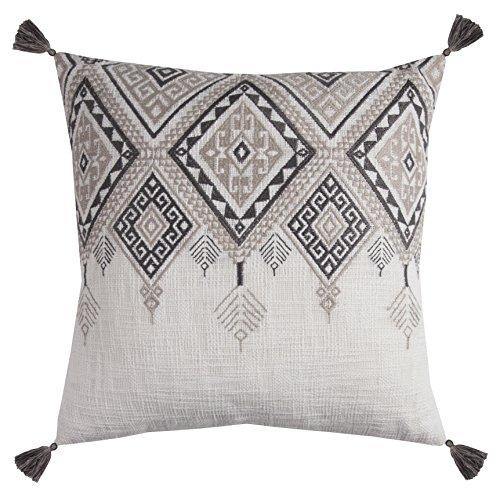 Rizzy Home PILT11501IVGY2020 Tribal Aztec with Tassels Decorative Pillow, Ivory/Grey (Pillows Tassel Decorative)