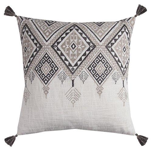 Rizzy Home PILT11501IVGY2020 Tribal Aztec with Tassels Decorative Pillow, Ivory/Grey (Pillows Decorative Tassel)