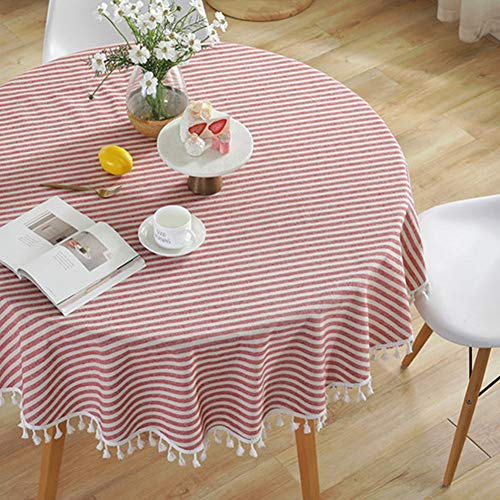 AMZALI Stripe Tassel Tablecloth Cotton Linen Table Cloth Stain Resistant Dust-Proof Table Cover for Kitchen Dinning Tabletop Home Decoration (Round 60 Inch)