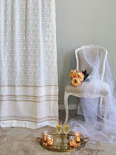 (Saffron Marigold - Bridal Veil - White and Gold Hand Printed - Elegant Romantic Sheer Cotton Voile Curtain Panel -Tab Top or Rod Pocket - (46